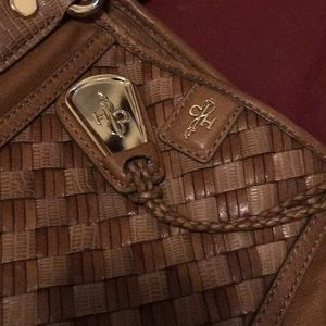 Cole Haan Brown Woven Leather Satchel